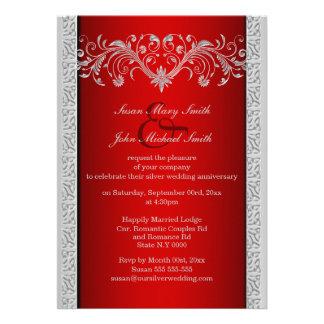 Aniversario de bodas de plata rojo floral comunicados
