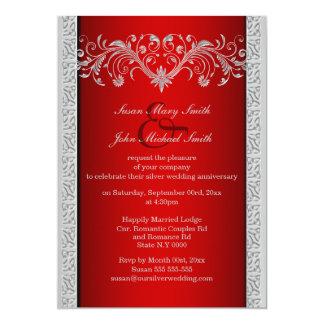 Aniversario de bodas de plata rojo floral invitación 12,7 x 17,8 cm