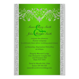 Aniversario de bodas de plata verde floral invitaciones personales