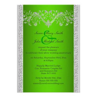 Aniversario de bodas de plata verde floral