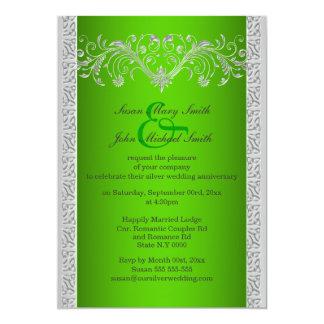 Aniversario de bodas de plata verde floral invitación 12,7 x 17,8 cm