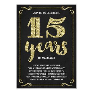 Aniversario de la falsa hoja de la tipografía el | invitación 12,7 x 17,8 cm