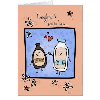 Aniversario de la hija y del yerno, chocolate tarjeta de felicitación