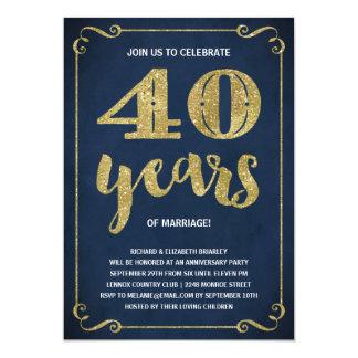 Aniversario de la hoja 40.a de la tipografía el | invitación 12,7 x 17,8 cm