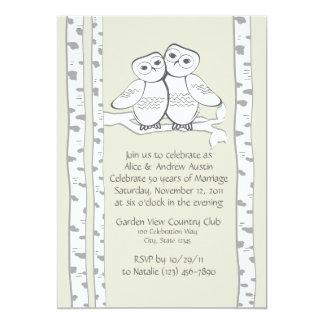 Aniversario de los búhos de la nieve invitación 12,7 x 17,8 cm