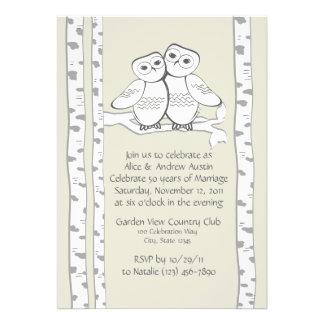 Aniversario de los búhos de la nieve invitaciones personales
