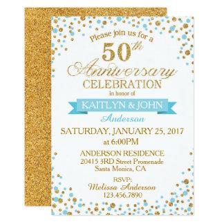 Aniversario de los puntos 50.os del brillo del oro invitación 12,7 x 17,8 cm