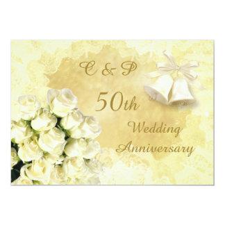 Aniversario de los rosas blancos y de boda de las invitación 12,7 x 17,8 cm