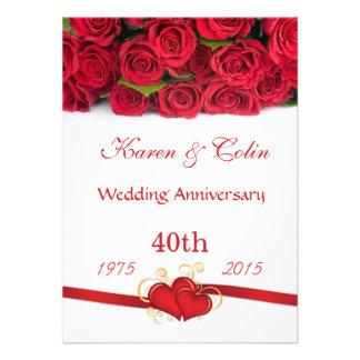 Aniversario de los rosas rojos y de boda de los co comunicados personalizados