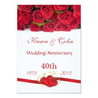 Aniversario de los rosas rojos y de boda de los invitación 11,4 x 15,8 cm