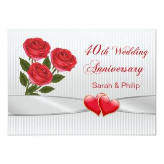 Aniversario de los rosas rojos y de boda de los invitación 12,7 x 17,8 cm