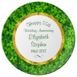 Aniversario de los tréboles 55.os del verde plato de porcelana