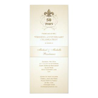 Aniversario de oro de la flor de lis invitación 10,1 x 23,5 cm