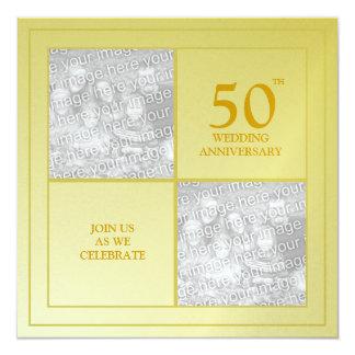 Aniversario de oro de la foto última y actual invitación 13,3 cm x 13,3cm