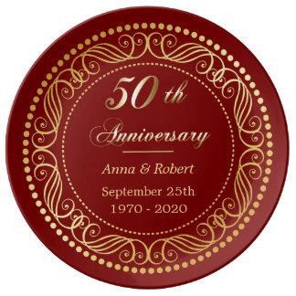 Aniversario de oro de la frontera decorativa roja plato de porcelana