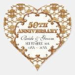 Aniversario de oro del regalo 50.o del favor del pegatinas corazon