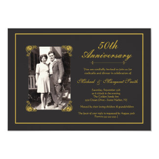 Aniversario de oro invitación 12,7 x 17,8 cm