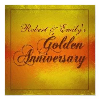 Aniversario de oro invitación 13,3 cm x 13,3cm