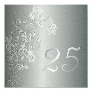 Aniversario de plata 25 años de instinto del invitación 13,3 cm x 13,3cm