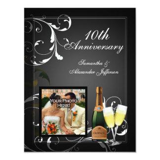 Aniversario de plata blanco y negro de la foto de invitación 10,8 x 13,9 cm