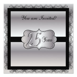 Aniversario de plata feliz 25 años invitación 13,3 cm x 13,3cm