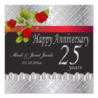Aniversario de plata feliz el | 25 años invitación 13,3 cm x 13,3cm