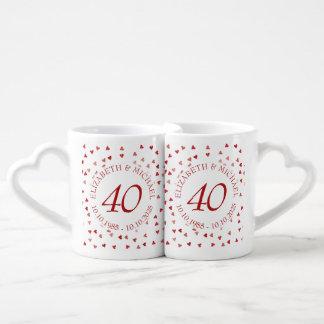Aniversario de rubíes del confeti 40.o de los set de tazas de café