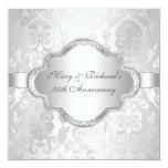 Aniversario de Silve del remolino floral elegante Invitación 13,3 Cm X 13,3cm