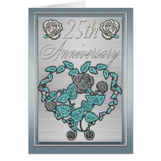 Aniversario del aniversario de bodas de plata 25to tarjeta de felicitación