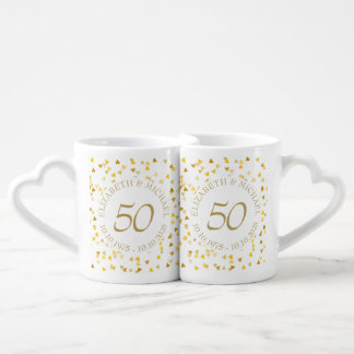 Aniversario del confeti 50.o de los corazones del set de tazas de café