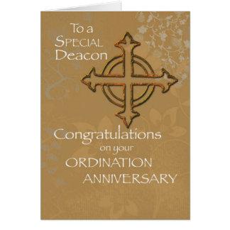 Aniversario del diácono de la cruz del oro de la tarjeta de felicitación