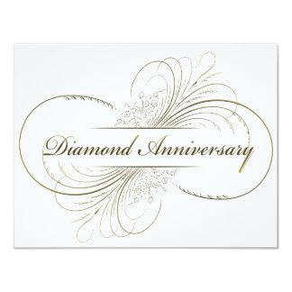 Aniversario del diamante invitación 10,8 x 13,9 cm