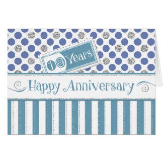 Aniversario del empleado 10 años de azul del jade tarjeta de felicitación