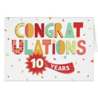 Aniversario del empleado 10 años de enhorabuena de tarjeta de felicitación