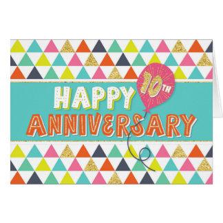 Aniversario del empleado 10 años - modelo colorido tarjeta de felicitación