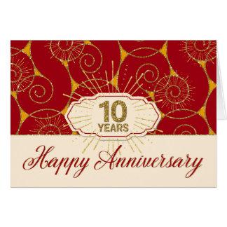 Aniversario del empleado 10 años - remolinos del tarjeta de felicitación