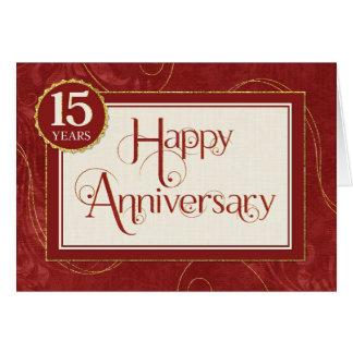 Aniversario del empleado 15 años - el texto tarjeta de felicitación