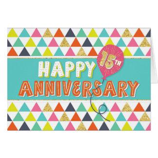 Aniversario del empleado 15 años - modelo colorido tarjeta de felicitación