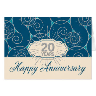 Aniversario del empleado 20 años - remolinos del tarjeta de felicitación