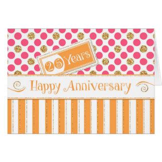 Aniversario del empleado 25 años de rosa del tarjeta de felicitación