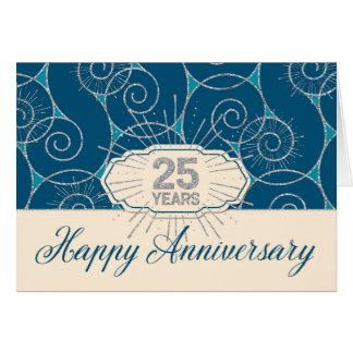 Aniversario del empleado 25 años - remolinos del tarjeta de felicitación