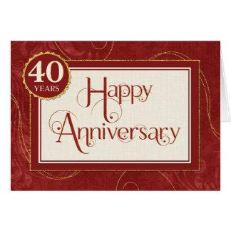 Aniversario del empleado 40 años - el texto tarjeta de felicitación