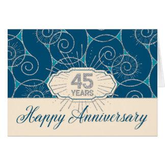 Aniversario del empleado 45 años - remolinos del tarjeta de felicitación