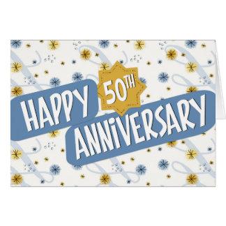 Aniversario del empleado 50 años de modelo blanco tarjeta de felicitación