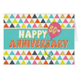 Aniversario del empleado 50 años - modelo colorido tarjeta de felicitación