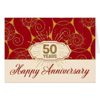 Aniversario del empleado 50 años - remolinos del tarjeta de felicitación