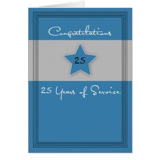 Aniversario del empleado azul y gris, 25 años tarjeta de felicitación