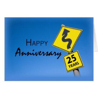 Aniversario del empleado de 25 años, señal de tarjeta de felicitación