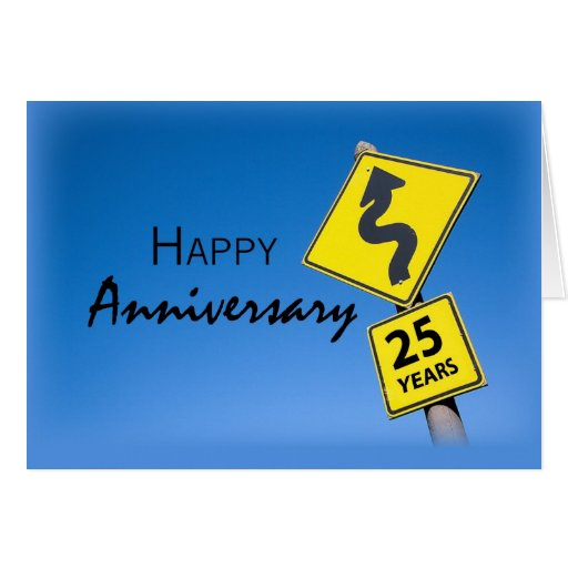 Aniversario del empleado de 25 años, señal de tráf felicitaciones