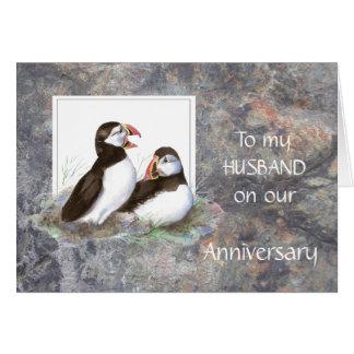 Aniversario del marido - humor del frailecillo tarjeta de felicitación